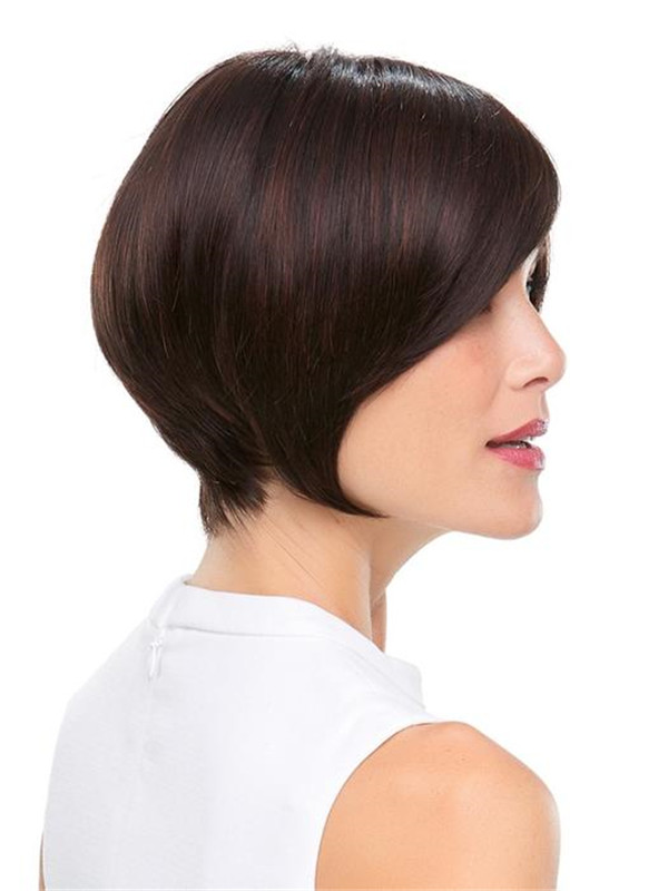 Short Brunette Synthetic Wig Mono Top