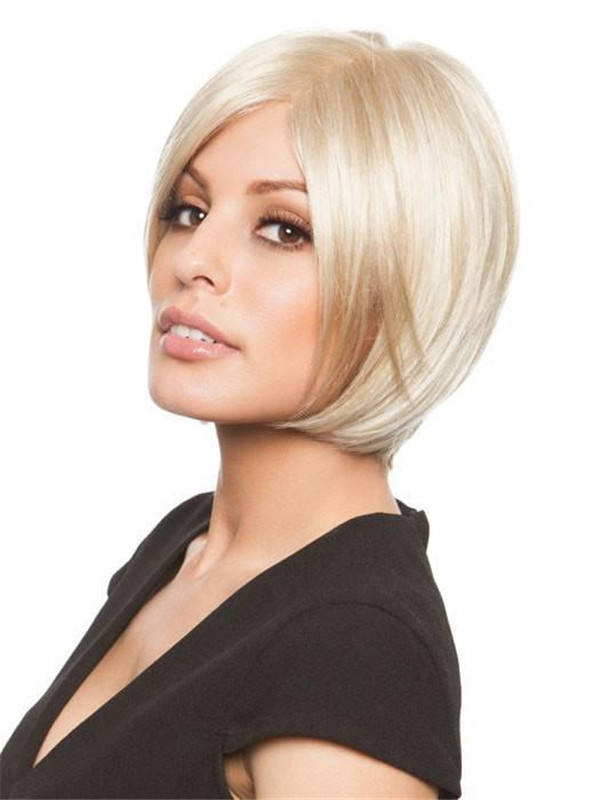 Straight Mid-Length Short Synthetic Wig Full Mono For Women