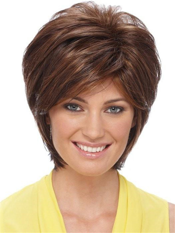 Short Brunette Synthetic Wig Basic Cap