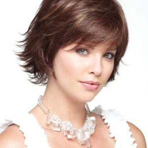 Straight Short Brunette Synthetic Wig Mono Top