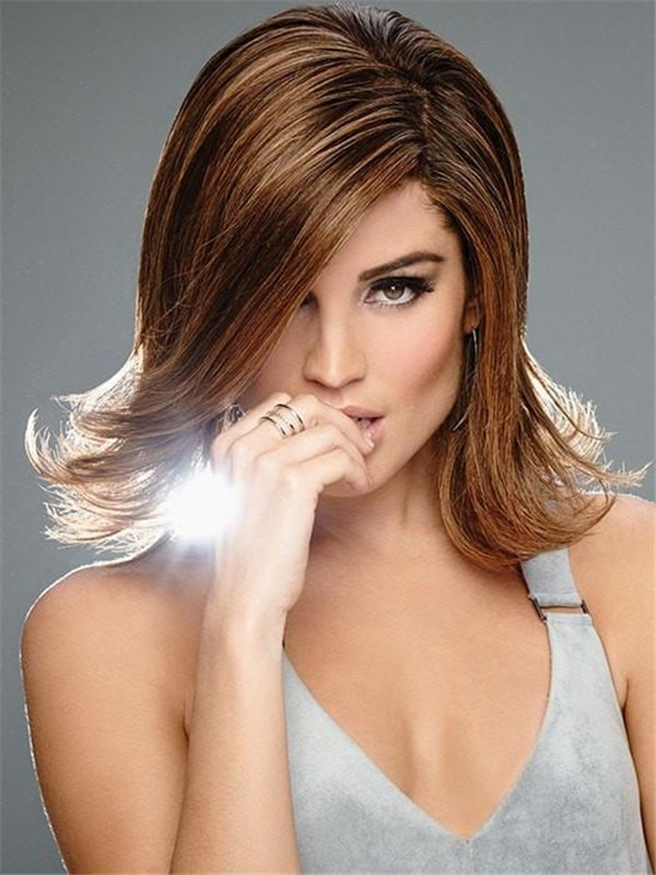 Mid-Length Straight Monofilament Remy Human Hair Lace Front Wig Hand-Tied