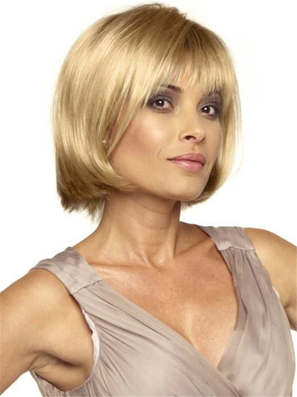 Short Straight Rooted Synthetic Wig Basic Cap