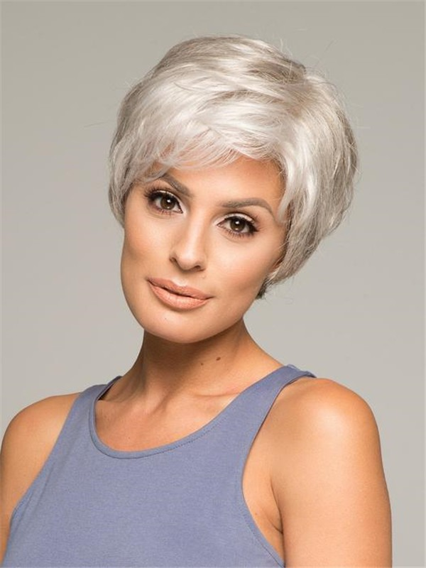 Straight Short Short Synthetic Lace Front Wig Hand-Tied
