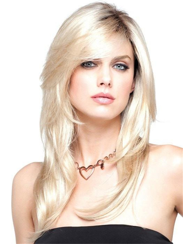 Straight Brunette Synthetic Wig Mono Top