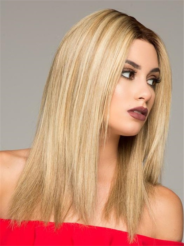 Mid-Length Monofilament Remy Human Hair Lace Front Wig Mono Top
