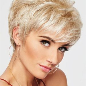 Straight Short Synthetic Lace Front Wig Mono Top For Women