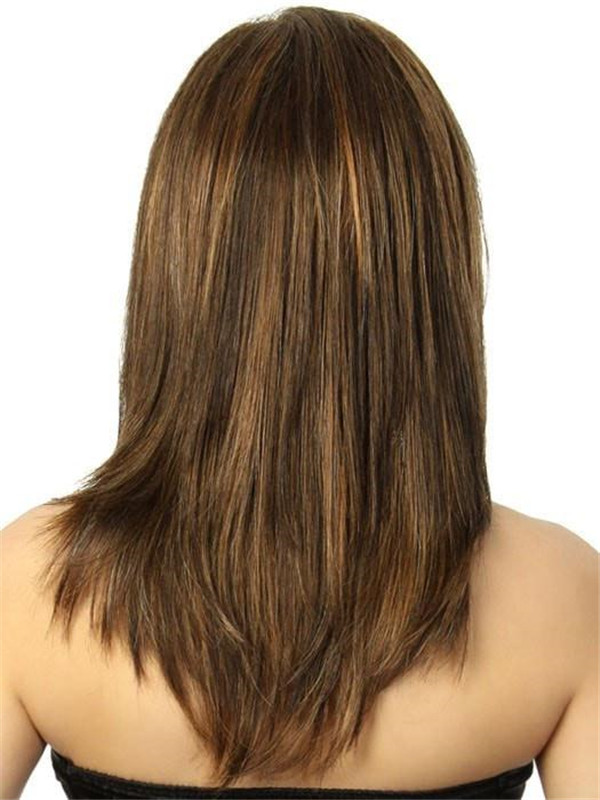 Straight Mid-length Synthetic Lace Front Wig Mono Part For Women