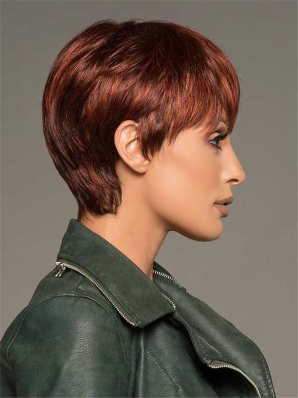 Short Straight Brunette Synthetic Wig Mono Crown For Women