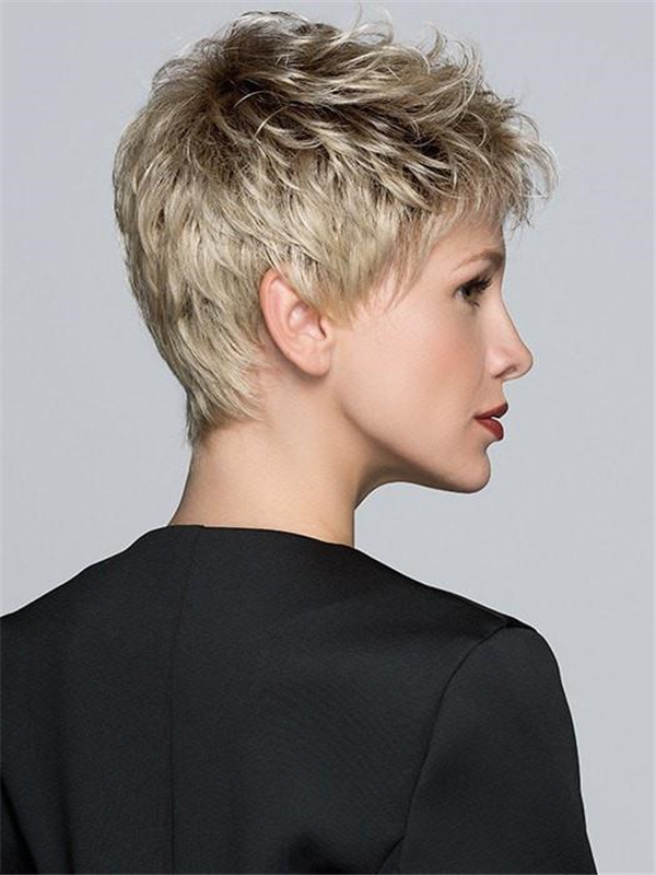 Short Pixie Layered Synthetic Lace Front Wig Mono Crown