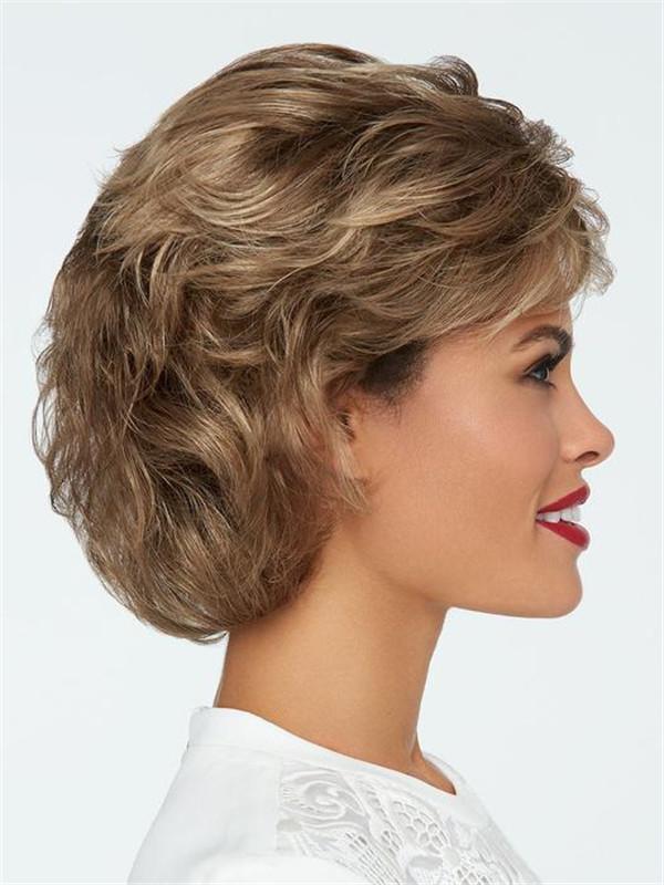 Short Wavy Brunette Synthetic Wig Mono Top
