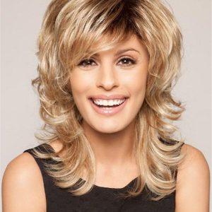 Mid-length Brunette Synthetic Wig Basic Cap For Women