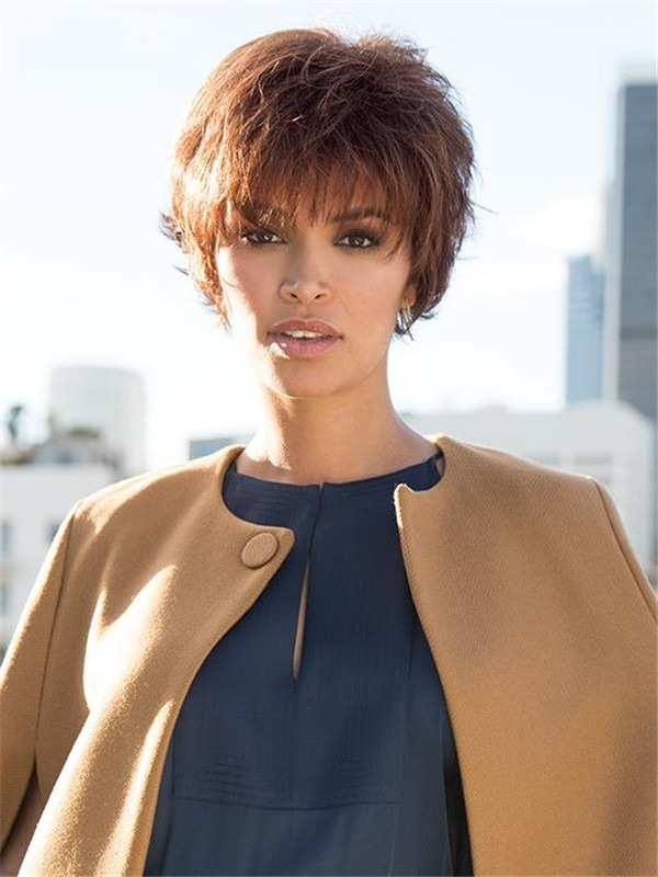 Women's Short Brunette Synthetic Wig Basic Cap