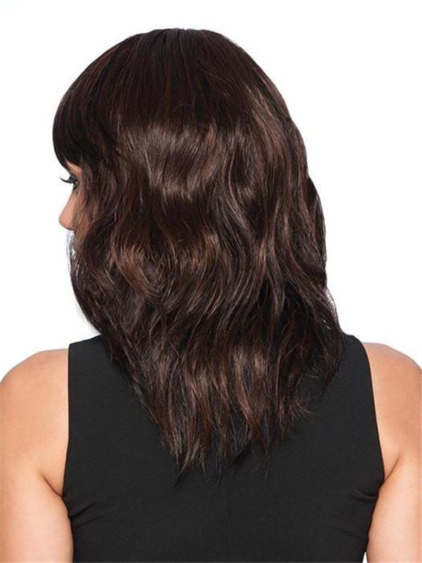 Mid-length Brunette Hf Synthetic Wig Basic Cap For Women