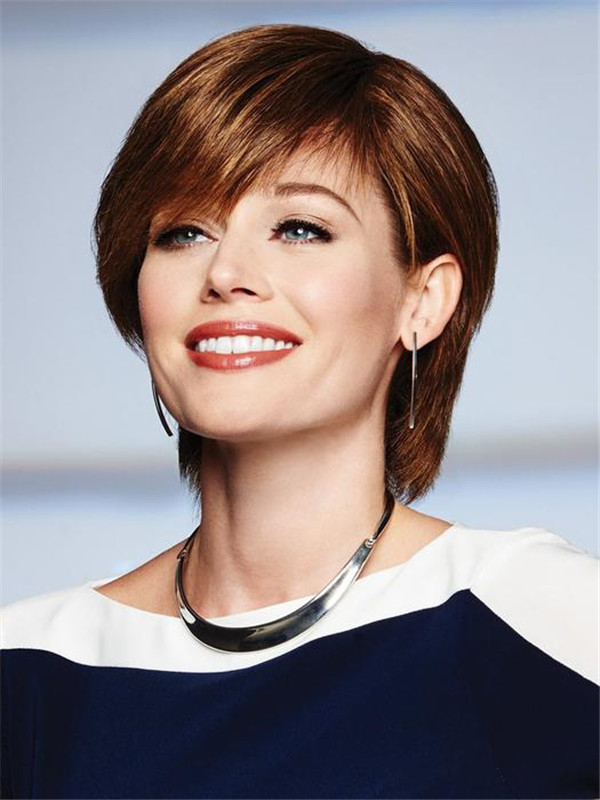 Short Wavy Straight Lace Front Human Hair Wig Mono Top For Women
