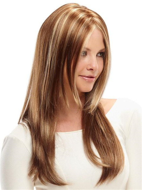 Straight Brunette Synthetic Lace Front Wig Mono Top