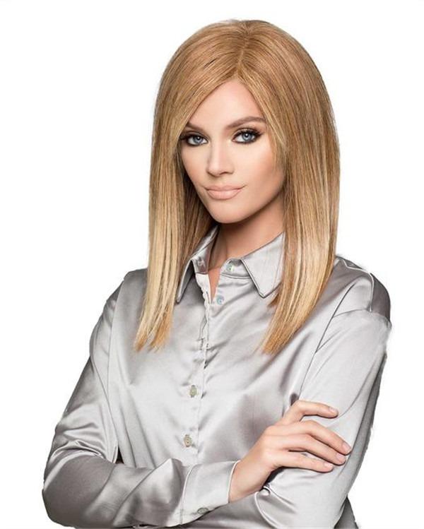 Short Mid-length Human Hair Wig Mono Top For Women