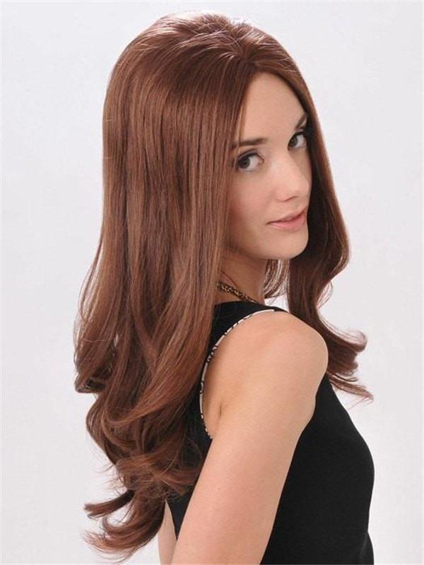 Long Straight Brunette Human Hair Wig Mono Top For Women