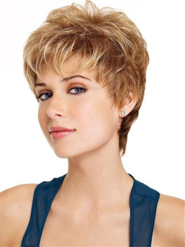 Straight Pixie Synthetic Wig Basic Cap For Women