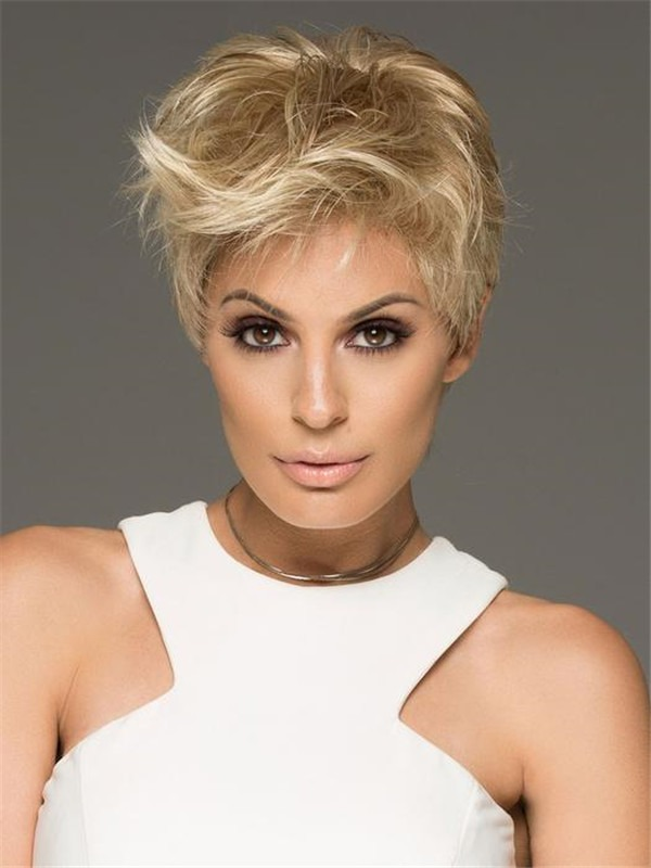 Short Pixie Synthetic Lace Front Wig Mono-top