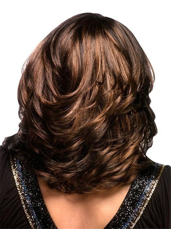 Wavy African American Mid-length Synthetic Wig Basic Cap For Women