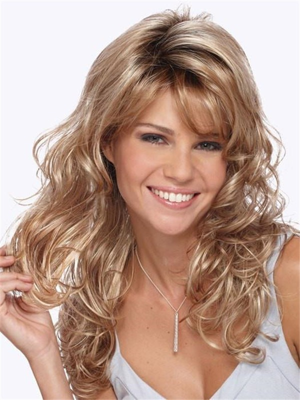 Long Curly Synthetic Wig Basic Cap For Women