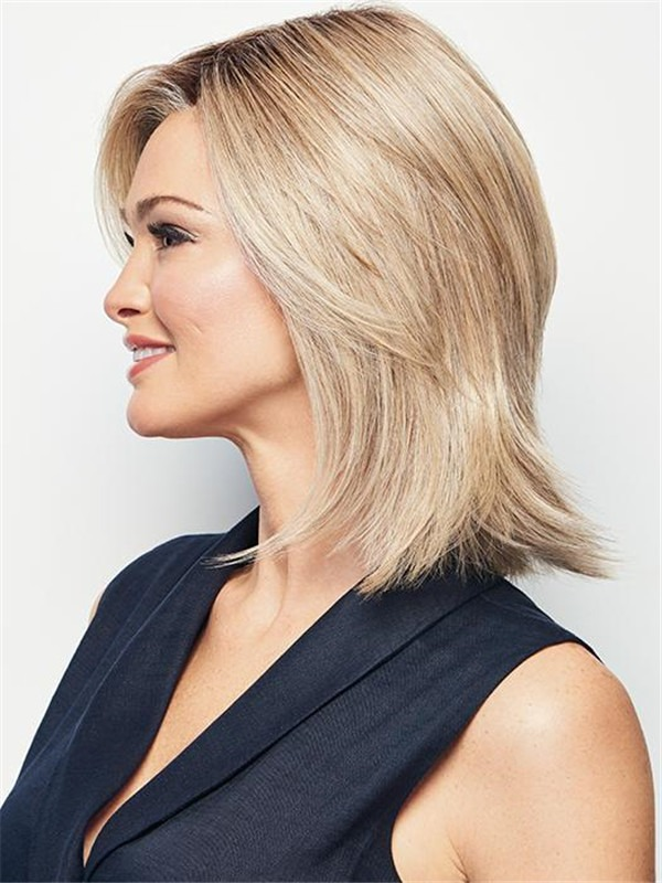 Straight Mid-length Hf Synthetic Lace Front Wig Mono Top