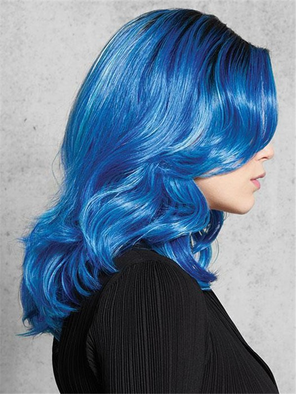 Blue Hf Synthetic Wig Basic Cap Rooted For Women