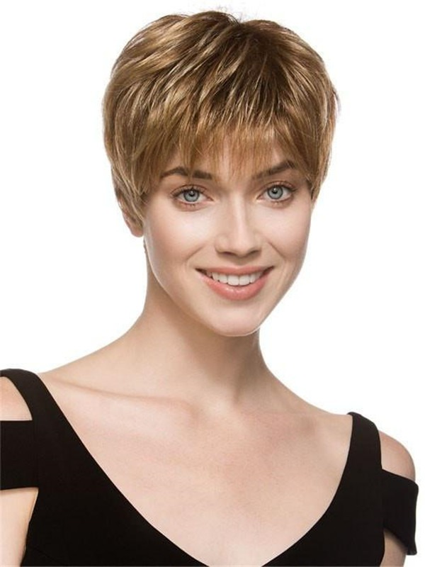 Short Pixie Synthetic Lace Front Wig Mono Top For Women