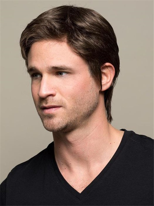 Short Straight Synthetic Lace Front Wig Mono Crown For Men