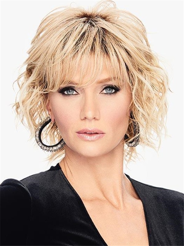 Short Layered Curly Hf Synthetic Wig Basic Cap For Women