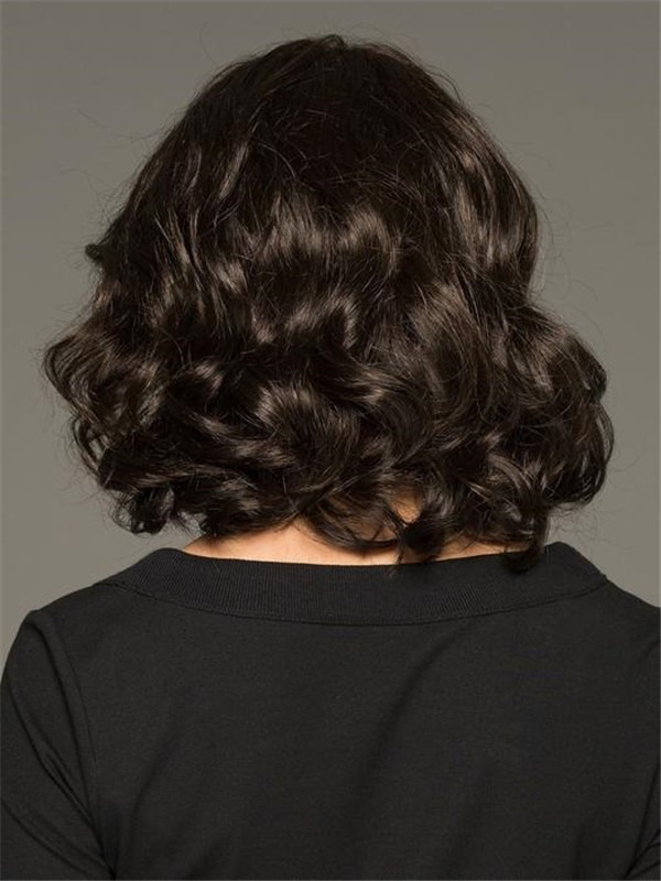 Mid-length Brunette Synthetic Lace Front Wig Mono Top For Women