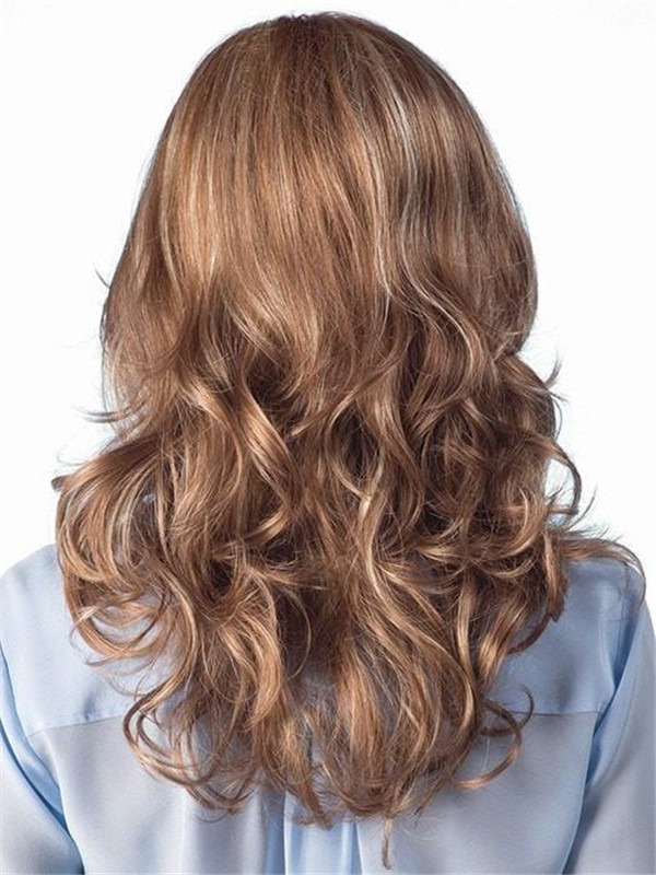 Long Brunette Synthetic Wig Mono Top For Women
