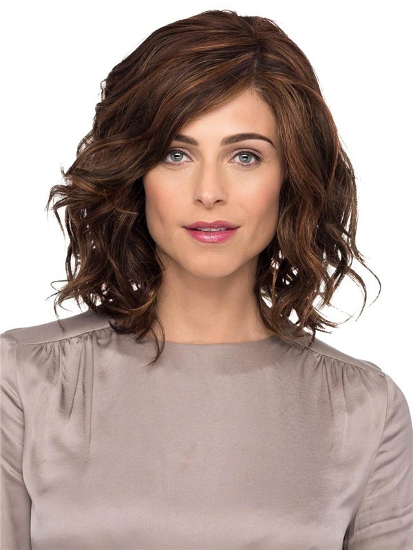 Curly Synthetic Lace Front Wig Mono Top For Women