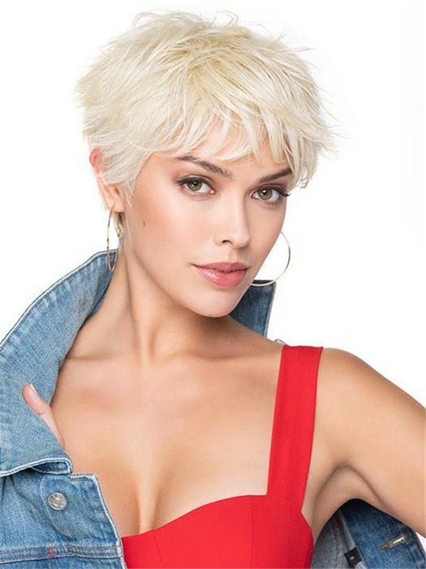 Short Pixie Synthetic Wig Basic Cap Rooted For Women