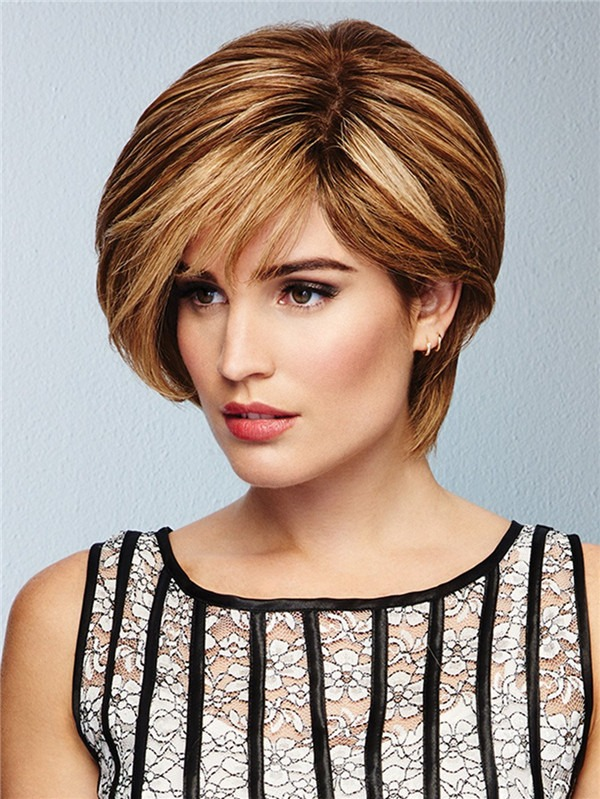 Short Human Hair Lace Front Wig Hand-tied For Women