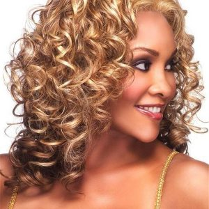 Mid-length Hf Synthetic Lace Front Wig Basic Cap For Women
