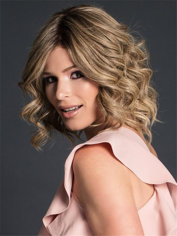 Mid-length Human Hair Lace Front Wig Mono Top For Women