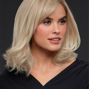 Straight Mid-length Human Hair Lace Front Wig Mono Top For Women