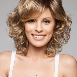 Curly Mid-length Synthetic Wig Mono Crown For Women