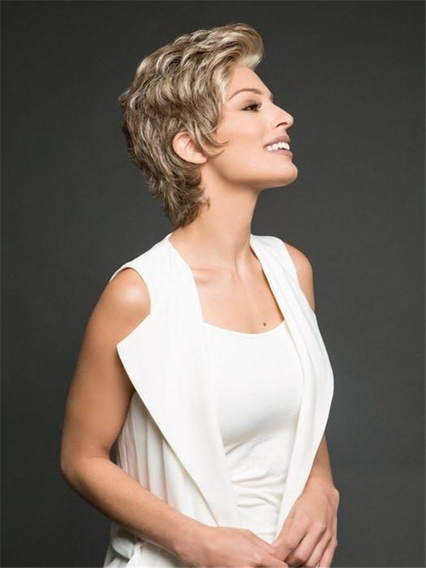 Short Straight Pixie Synthetic Lace Front Wig Hand-tied For Women
