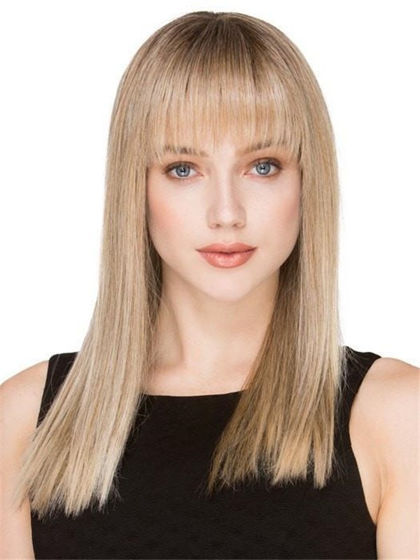 Long Straight synthetic Wig Mono Crown For Women