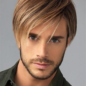 Short Hf Synthetic Lace Front Wig Mono Top For Men