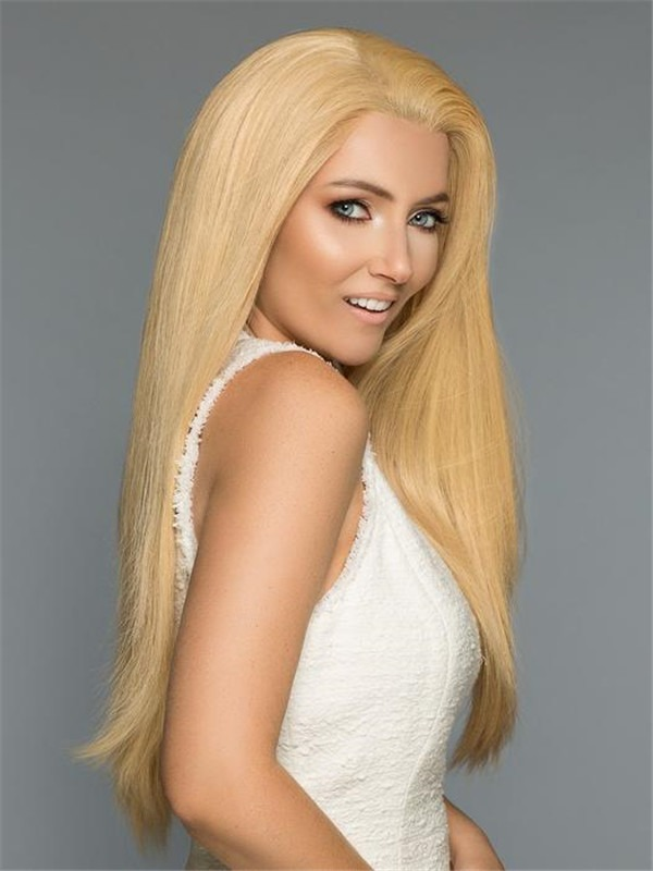 Long Straight Human Hair Lace Front Wig Hand-tied For Women