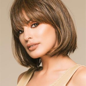 Mid-length Hf Synthetic Wig Mono Crown For Women