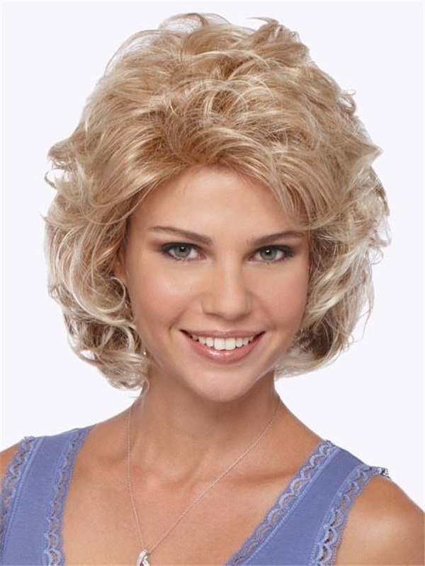 Mid-Length Curly Synthetic Wig Basic Cap