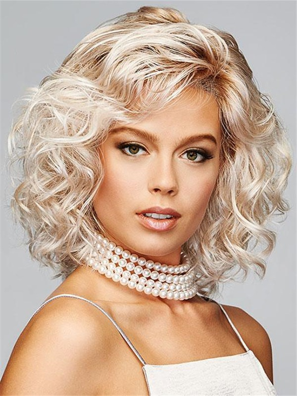 Short Rooted Curl Up Synthetic Lace Front Wig For Women
