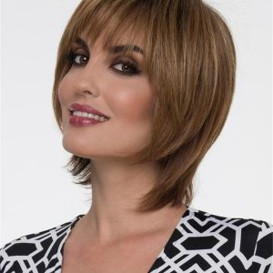 Straight Human Hair Synthetic Blend Wig Mono Top For Women