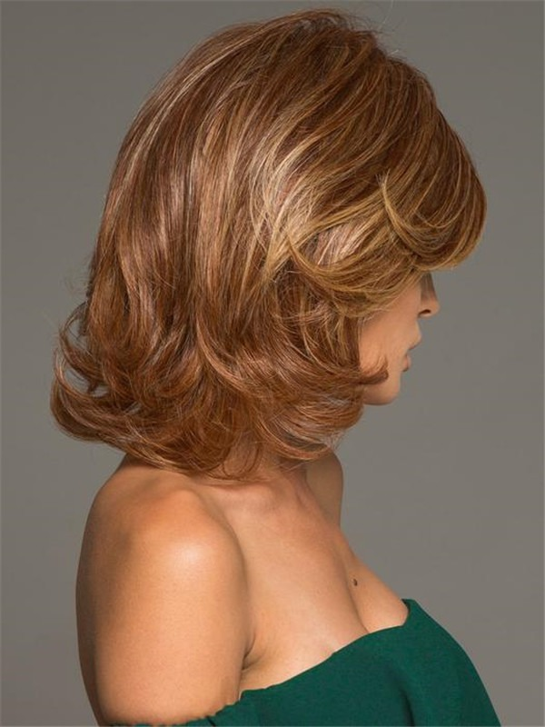 Wavy Straight Mid-length Hf Synthetic Wig Basic Cap For Women