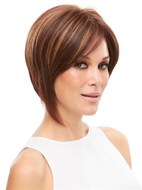 Short Hf Synthetic Lace Front Wig Mono Top For Women