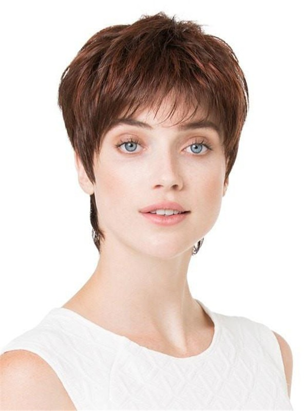 Short Straight Pixie Synthetic Lace Front Wig Mono Top